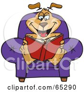 Royalty Free RF Clipart Illustration Of A Sparkey Dog Sitting In A Chair And Reading A Book by Dennis Holmes Designs
