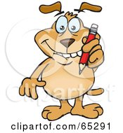 Royalty Free RF Clipart Illustration Of A Sparkey Dog Biting His Lip And Writing With A Pencil