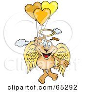Sparkey Dog Angel Floating In The Sky And Holding Onto Heart Balloons