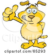 Yellow Sparkey Dog Giving The Thumbs Up by Dennis Holmes Designs