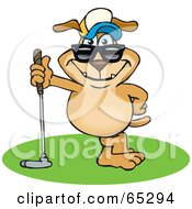 Royalty Free RF Clipart Illustration Of A Sparkey Dog Leaning On A Golf Club
