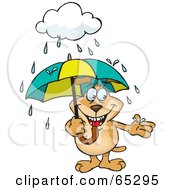 Royalty Free RF Clipart Illustration Of A Sparkey Dog Reaching Out To Catch A Rain Drop While Standing Under An Umbrella