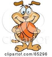 Royalty Free RF Clipart Illustration Of A Sparkey Dog Holding A Basketball
