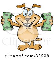 Royalty Free RF Clipart Illustration Of A Sparkey Dog Holding Two Wads Of Cash