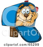 Royalty Free RF Clipart Illustration Of A Sparkey Dog Hiding In A Mail Box by Dennis Holmes Designs