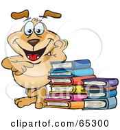 Royalty Free RF Clipart Illustration Of A Sparkey Dog Leaning On A Stack Of Books