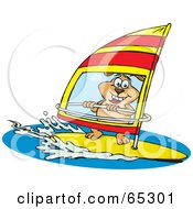 Royalty Free RF Clipart Illustration Of A Sparkey Dog Wind Surfing