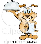 Royalty Free RF Clipart Illustration Of A Sparkey Dog Serving Food