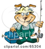 Royalty Free RF Clipart Illustration Of A Sparkey Dog Going Fishing