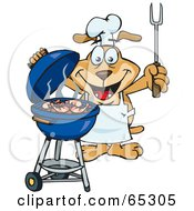 Royalty Free RF Clipart Illustration Of A Sparkey Dog Chef Barbecuing Prawns On A Charcoal Grill
