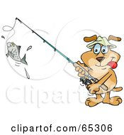 Royalty Free RF Clipart Illustration Of A Sparkey Dog Reeling In A Fish On A Line by Dennis Holmes Designs