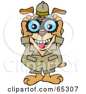 Royalty Free RF Clipart Illustration Of A Sparkey Dog Grinning And Peering Through Binoculars