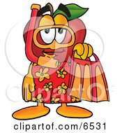Red Apple Character Mascot In Orange And Yellow Snorkel Gear Clipart Picture