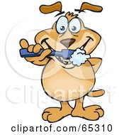 Royalty Free RF Clipart Illustration Of A Sparkey Dog Brushing His Teeth by Dennis Holmes Designs