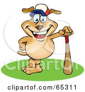 Royalty Free RF Clipart Illustration Of A Sparkey Dog Leaning On A Baseball Bat