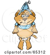 Royalty Free RF Clipart Illustration Of A Sparkey Dog Hung Up By His Shirt On A Nail by Dennis Holmes Designs