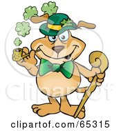 Royalty Free RF Clipart Illustration Of A St Patricks Day Sparkey Dog Smoking A Pipe