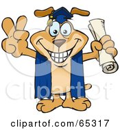 Royalty Free RF Clipart Illustration Of A Sparkey Dog Grad Holding His Diploma And Gesturing A Peace Sign by Dennis Holmes Designs