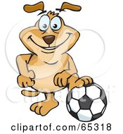 Sparkey Dog Resting His Foot On A Soccer Ball by Dennis Holmes Designs