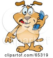 Sparkey Dog Holding A Blue Telephone by Dennis Holmes Designs