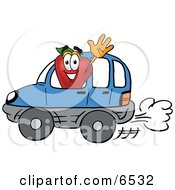 Red Apple Character Mascot Waving While Driving By In A Blue Car