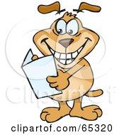 Sparkey Dog Holding A Blank Greeting Card by Dennis Holmes Designs