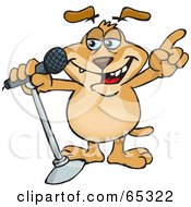Sparkey Dog Singing Into A Microphone