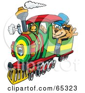 Royalty Free RF Clipart Illustration Of A Sparkey Dog Train Driver Waving by Dennis Holmes Designs