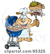 Royalty Free RF Clipart Illustration Of A Sparkey Dog Chef Barbecuing On A Charcoal Grill