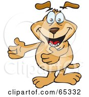 Royalty Free RF Clipart Illustration Of A Sparkey Dog Gesturing With His Arms Out To The Left by Dennis Holmes Designs