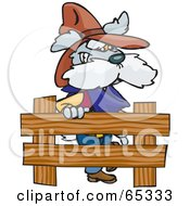 Cowboy Dog By A Wooden Fence