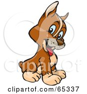Royalty Free RF Clipart Illustration Of A Curious Sitting Boxer Puppy With His Head Cocked by Dennis Holmes Designs