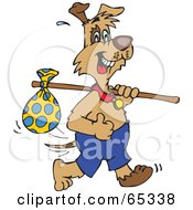Royalty Free RF Clipart Illustration Of A Patch Dog Carrying A Sack