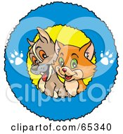 Royalty Free RF Clipart Illustration Of A Cute Puppy And Cat In A Blue Paw Print Ring Logo by Dennis Holmes Designs