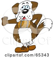 Royalty Free RF Clipart Illustration Of A St Bernard Dog Wearing A Barrel And Leaning