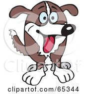 Royalty Free RF Clipart Illustration Of A Happy Brown And White Farm Dog Facing Front