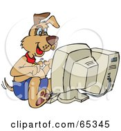 Royalty Free RF Clipart Illustration Of A Patch Dog Using A Computer