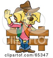 Royalty Free RF Clipart Illustration Of A Cowboy Yellow Lab Dog By A Wooden Fence