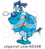 Royalty Free RF Clipart Illustration Of A Shivering Blue Bulldog by Dennis Holmes Designs