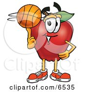 Red Apple Character Mascot Spinning A Basketball On His Finger Clipart Picture