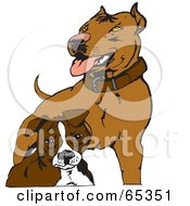 Royalty Free RF Clipart Illustration Of Two Brown Pit Bull Terriers