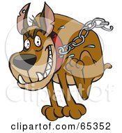 Royalty Free RF Clipart Illustration Of A Tough Guard Dog With Blood Shot Eyes Breaking Free Of His Chain