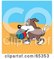 Royalty Free RF Clipart Illustration Of A Dog Carrying A Ball On A Beach