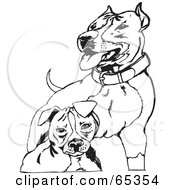 Royalty Free RF Clipart Illustration Of Two Black And White Pit Bull Terriers
