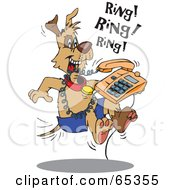 Royalty Free RF Clipart Illustration Of A Patch Dog Attacking A Ringing Phone