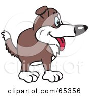 Royalty Free RF Clipart Illustration Of A Happy Brown And White Farm Dog Facing Right