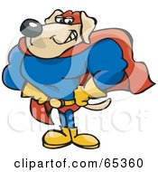Royalty Free RF Clipart Illustration Of A Strong Super Dog In A Blue Red And Yellow Uniform