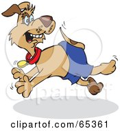 Royalty Free RF Clipart Illustration Of A Patch Dog Running And Looking Back
