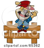 Royalty Free RF Clipart Illustration Of A Cowboy Bulldog By A Wooden Fence by Dennis Holmes Designs