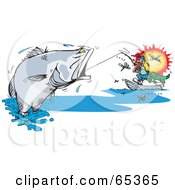 Royalty Free RF Clipart Illustration Of A Man Reeling In A Large Barramundi Fish Surrounded By Flies